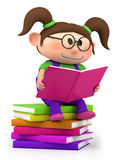 Little girl reading. Cute little cartoon girl sitting on books reading - high quality 3d illustration Stock Photo