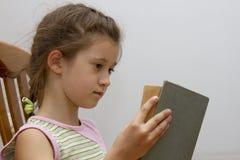 Little girl reading big book stock image