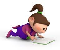 Little girl reading a book stock illustration