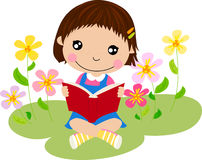 A little girl reading a book royalty free illustration