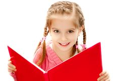 Little girl reading a book Royalty Free Stock Image