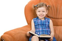 Little girl reading book. And have fun Royalty Free Stock Image