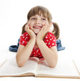 Little girl reading book Stock Photo