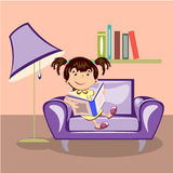 Little girl reading a book. In an armchair royalty free illustration