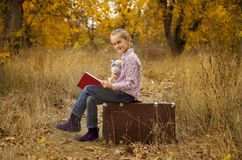 Little girl is reading a book in autumn. Wood Stock Photo