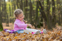 Little girl is reading a book Royalty Free Stock Image
