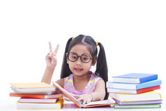 Little girl reading book Royalty Free Stock Photography