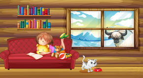A little girl reading a book. Illustration of a little girl reading a book Stock Images