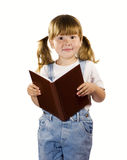 Little girl reading book isolated Stock Photography
