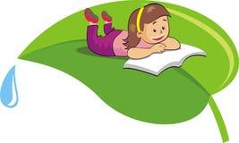 Little girl is reading book on leaf vector illustration