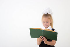 Little girl reading book, preparing for school Royalty Free Stock Image