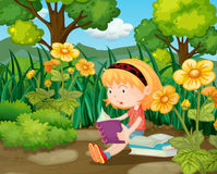 Little girl reading books in flower garden. Illustration Royalty Free Stock Image
