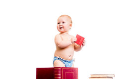 Little girl reading books Stock Image