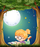 Little girl reading in park at night. Illustration Stock Photos