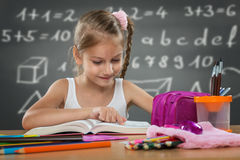 Little girl reading in school, written job behind the plate Royalty Free Stock Images