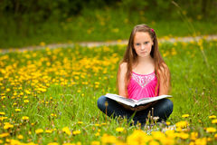 Little girl reads a book in the meadow Royalty Free Stock Photos