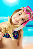 Little girl ready for snorkeling Stock Image