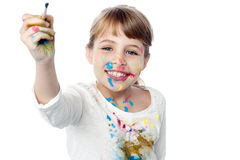 Little girl ready to paint Royalty Free Stock Photography