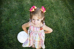 Little Girl ready to play soccer Royalty Free Stock Images