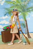 Little girl ready for the travel for vacation painted background Royalty Free Stock Photos