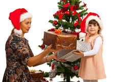 Little  girl receive Christmas gifts Stock Photo