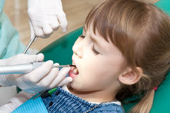 Little girl on reception at the dentist Royalty Free Stock Images