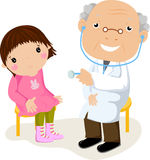 The little girl on reception at doctor. Illustration art Royalty Free Stock Image