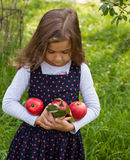 Little Girl And Red Apple royalty free stock images