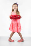 Little girl with red bag as an adult Royalty Free Stock Photos