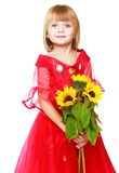 Little girl in a red ball gown. Royalty Free Stock Images