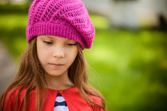 Little girl in red beret Royalty Free Stock Photo