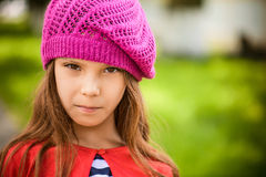 Little girl in red beret Royalty Free Stock Photography