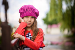 Little girl in red beret Stock Photos