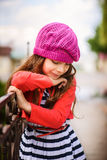 Little girl in red beret Royalty Free Stock Photos