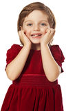 Little girl with red best dress Stock Image