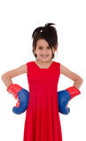 Little girl with red and blue boxing gloves Stock Photos