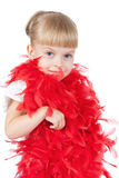 Little girl in a red boa Royalty Free Stock Images