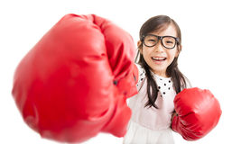 little girl with red boxing gloves Royalty Free Stock Photo