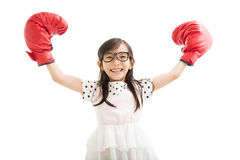 little girl with red boxing gloves Stock Photos