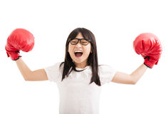 little girl with red boxing gloves Stock Photography