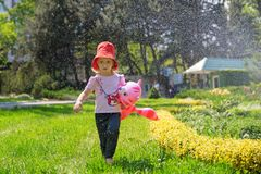 A little girl in a red cap with an inflatable cat in her hands, strolls along the lawn under the stream of water with garden sprin royalty free stock photo