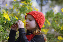 Little girl with red cap sniffing flowers. Girl in a red dress Royalty Free Stock Photo