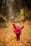 Little girl in red coat at scenic fall park Royalty Free Stock Photo