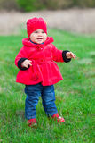 Little girl in red coat Royalty Free Stock Photography