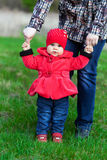 Little girl in red coat Royalty Free Stock Photo