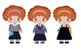 Little girl, with red curly hair in different school uniforms. With school backpack, diary, smiling first grader.in cartoon style royalty free illustration