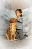 Little girl with a red dog. Little girl and her friend the dog Stock Photo