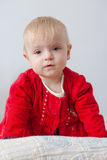 Little girl in red dress Stock Photo