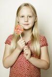 Little girl in red dress Stock Photo