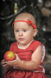 Little girl in a red dress Royalty Free Stock Image